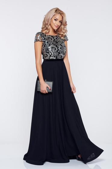 Rochie lunga eleganta neagra de seara din voal vaporos cu aplicatii cu paiete tesute StarShinerS