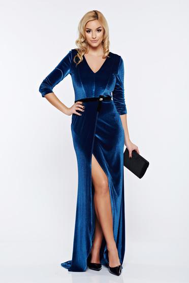 Rochie de nunta lunga albastra din catifea StarShinerS