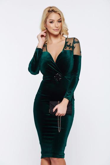 Rochie tip creion eleganta verde din catifea cu decolteu in V si maneci lungi