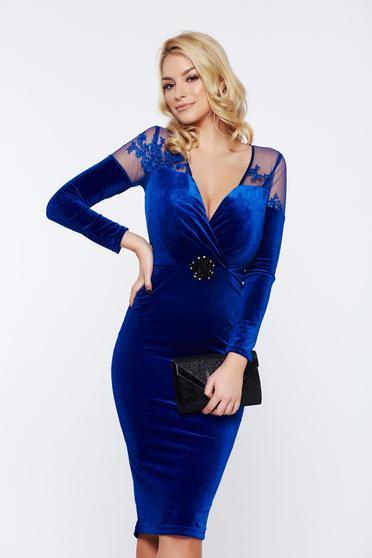 Rochie albastra de nunta din catifea cu maneci lungi si fermoar la spate Artista