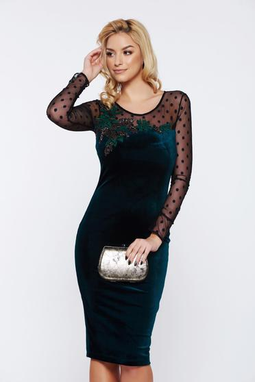 Rochie eleganta verde de nasa de nunta cu maneci din dantela si broderie florala LaDonna