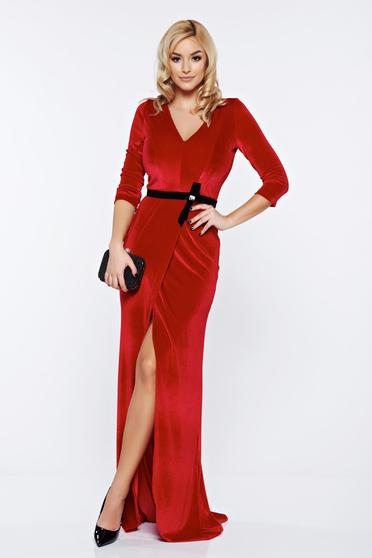 Rochie rosie lunga eleganta din catifea de calitate superioara StarShinerS