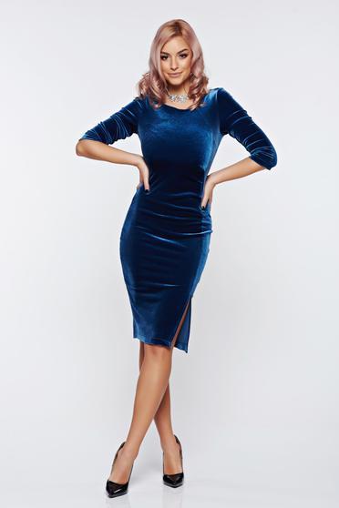Rochie albastra eleganta tip creion de catifea cu slit pe picior StarShinerS