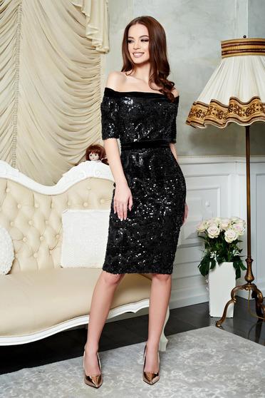 Rochie eleganta neagra de ocazie cu paiete realizata din material elastic StarShinerS
