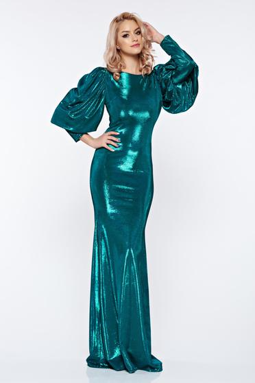 Rochie lunga de ocazie verde inchis stil sirena cu maneci bufante Artista