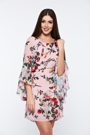 Rochie de primavara eleganta rosa cu maneci clopot