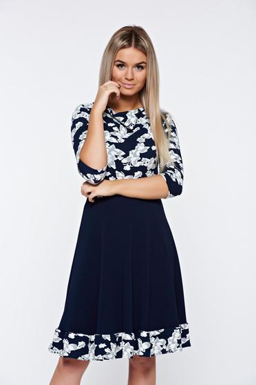 Rochie albastra office cu textura gofrata uni si print floral StarShinerS