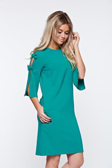 Rochie verde office de zi din stofa elastica si maneci trei sferturi LaDonna