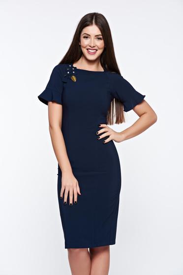 Rochie office albastra-inchis eleganta cu aplicatii cusute manual LaDonna