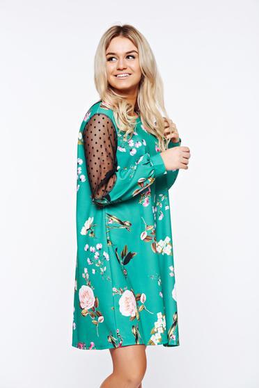 Rochie verde de primavara cu imprimeuri florale in diverse culori