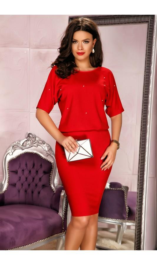 Compleu Hellen Rosu elegant de ocazie cu strassuri decorative