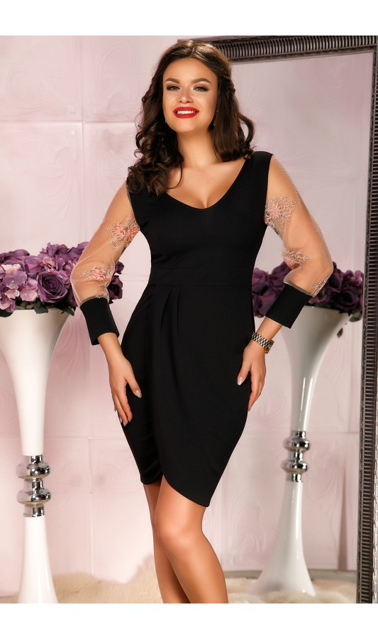 Rochie eleganta de ocazie neagra cu maneci lungi Aaron