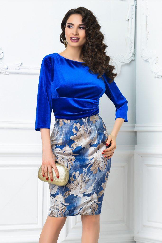 Rochie de zi eleganta albastra cu imprimeu floral crem Abena