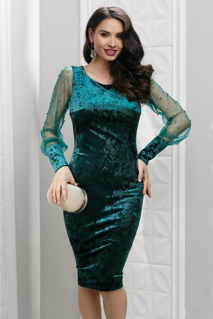 Rochie de ocazie din catifea verde cu perle Leonard Collection Aleah