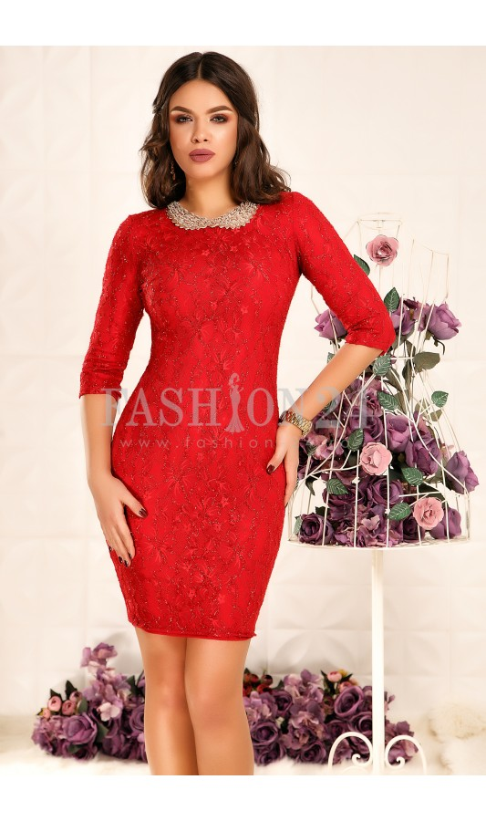 Rochie superba rosie de ocazie cu aplicatie la decolteu Annaliese
