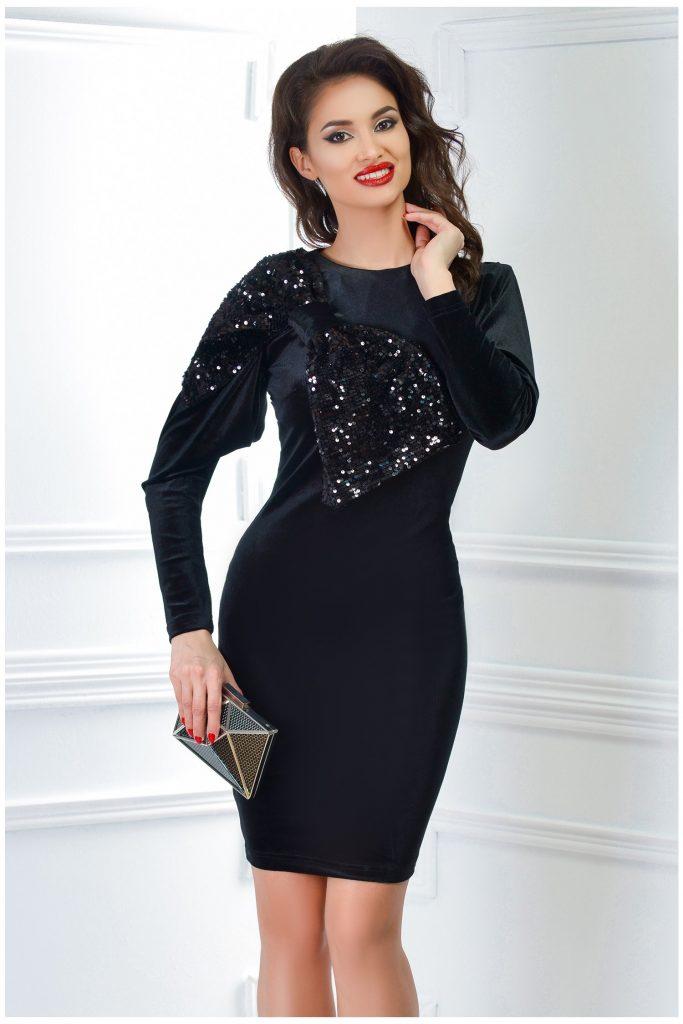 Rochie de seara neagra cu funda din paiete Artista