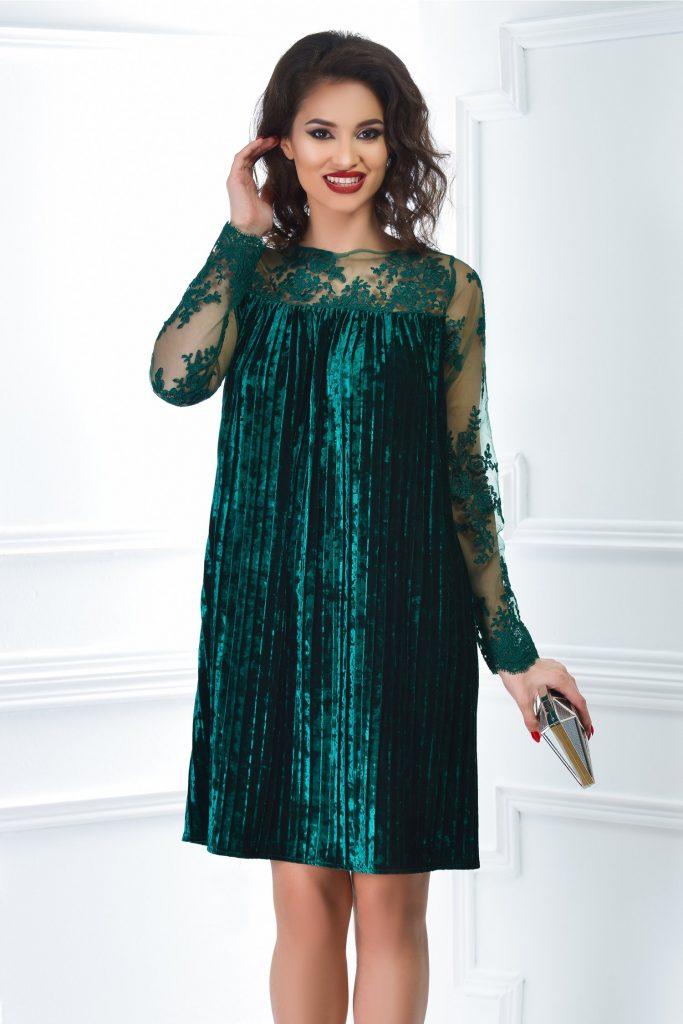 Rochie de seara verde din catifea plisata si maneci lungi din broderie Artista Else