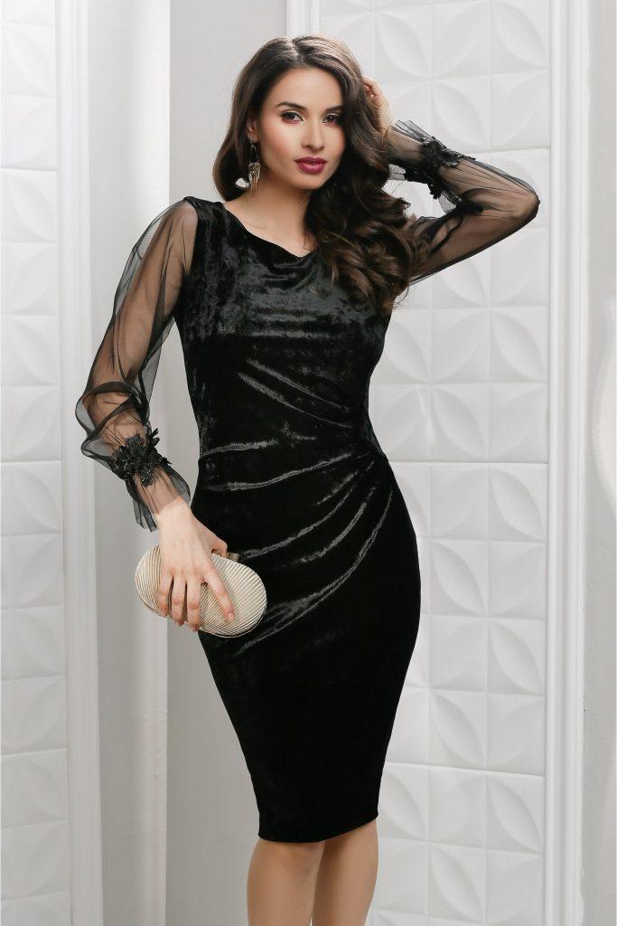 Rochie neagra de seara din catifea cu maneci lungi din tull Leonard Collection Ava