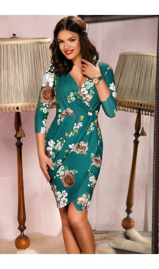 Rochie de ocazie verde cu imprimeuri florale Bianca