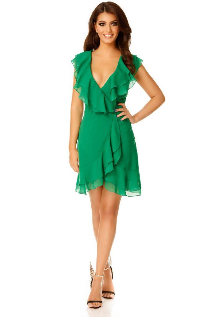 Rochie verde din voal scurta cu volane la bust si fusta Brianna