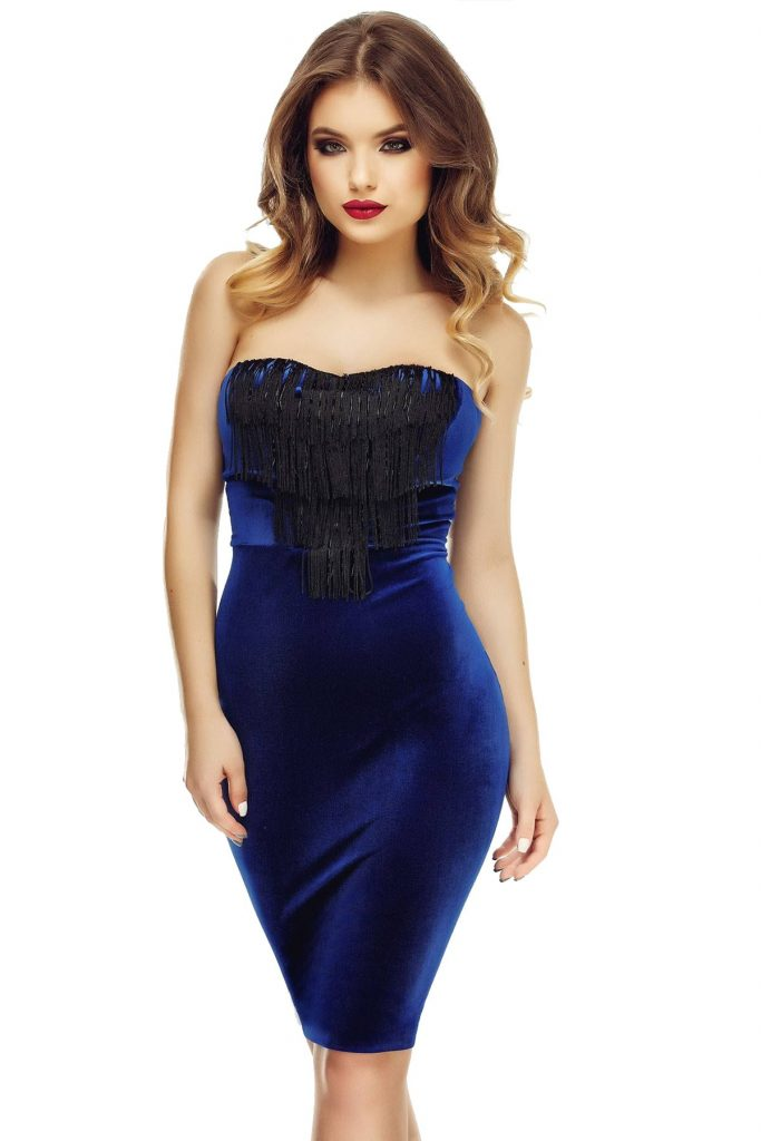 Rochie de seara eleganta albastra din catifea cu franjuri si margele Vanda