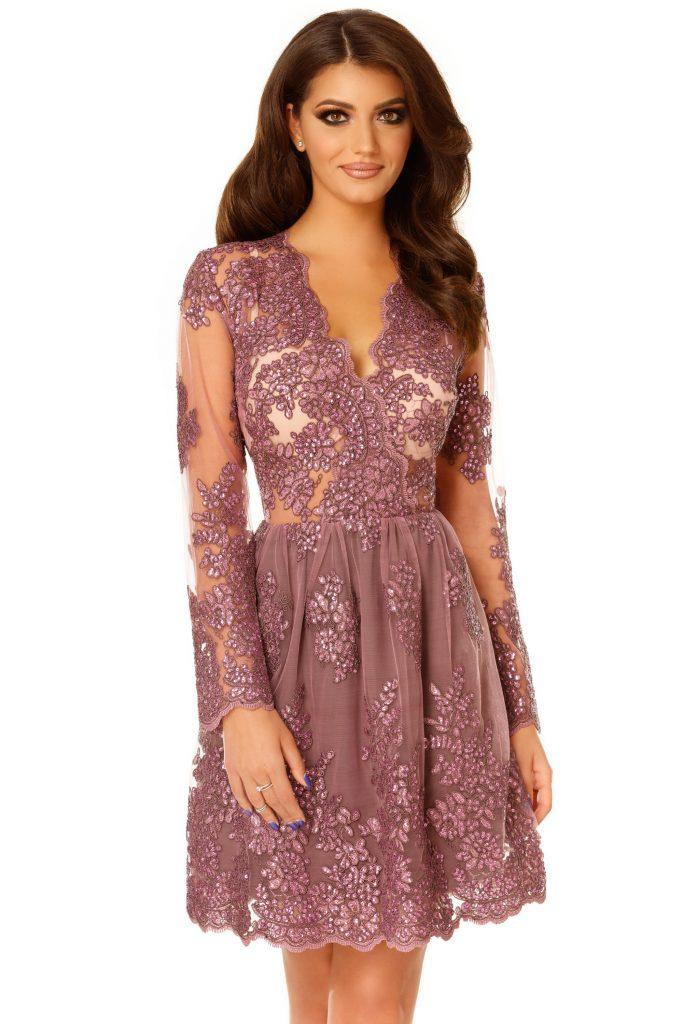 Rochie de seara scurta din dantela pretioasa lila Selin