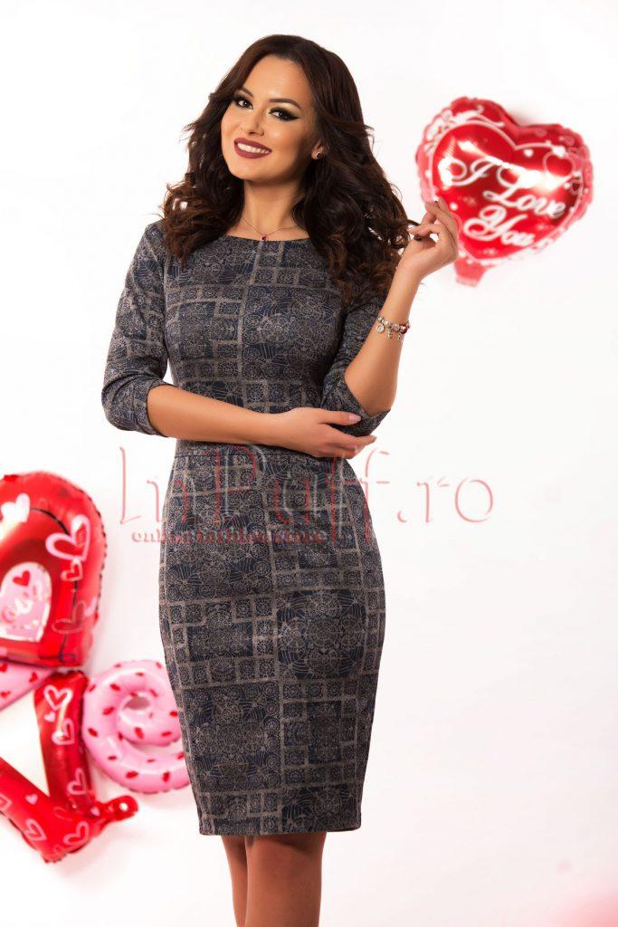 Rochie de zi bleumarin cu imprimeu gri si maneca trei sferturi Hermosa