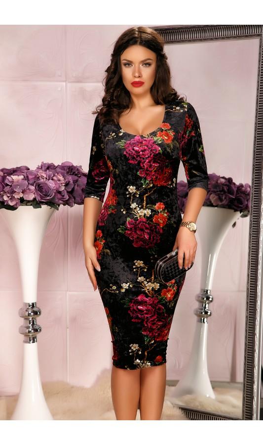 Rochie eleganta din catifea cu imprimeu floral bordo