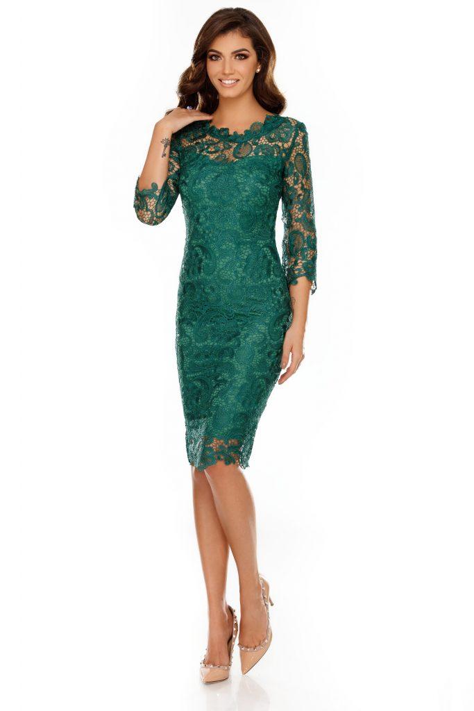 Rochie eleganta din dantela midi eleganta verde Noelle