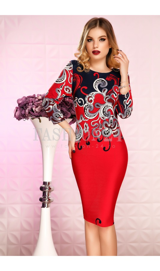 Rochie rosie eleganta de primavara Eleanora Red