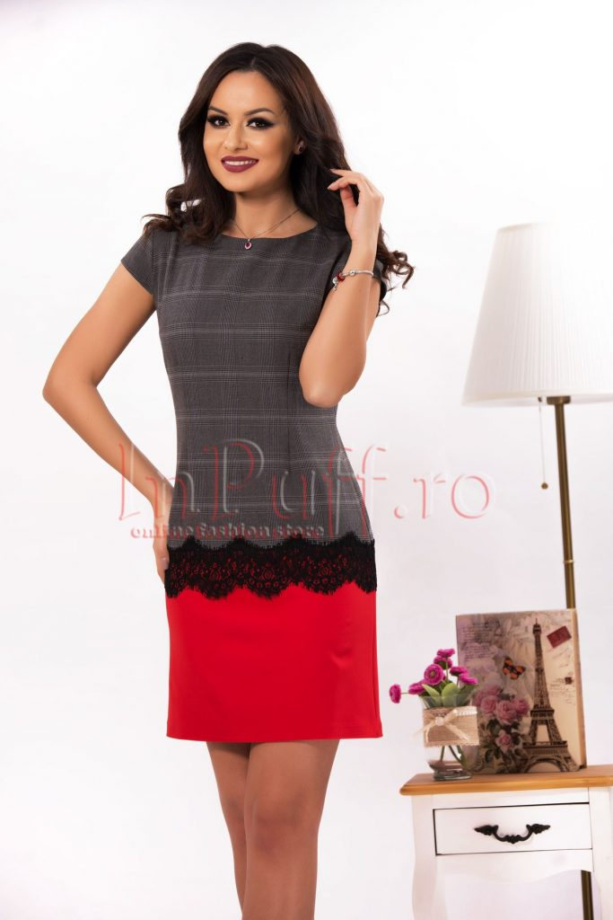 Rochie eleganta gri cu imprimeu carouri in partea de sus si accesorizata cu dantela neagra Effect
