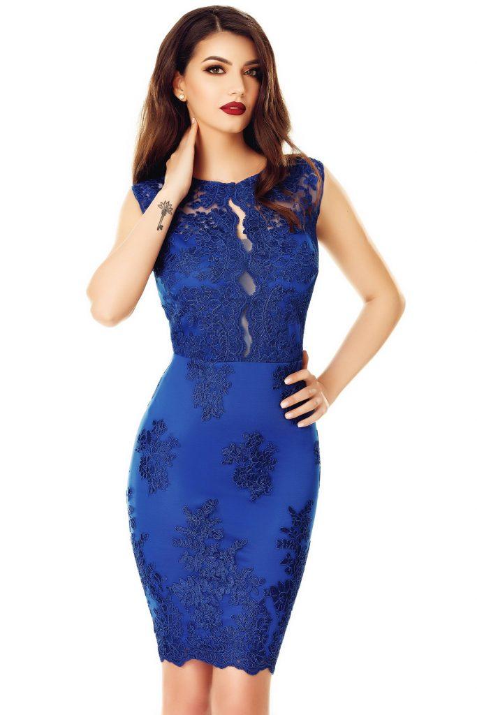 Rochie de seara eleganta albastra cu aplicatii de dantela Ingrid