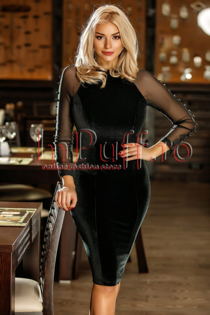 Rochie neagra de seara cu maneci lungi eleganta Atmosphere