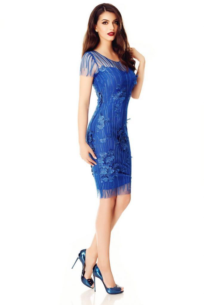 Rochie albastra eleganta din dantela fina cu flori aplicate Fathia