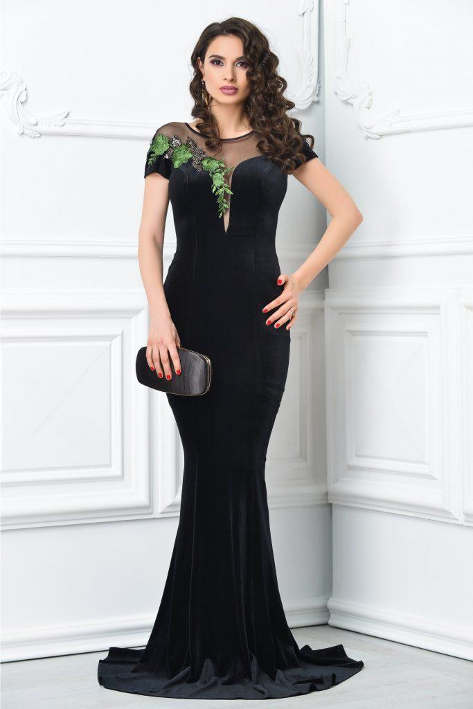 Rochie de lux neagra sirena cu broderie verde Ginette