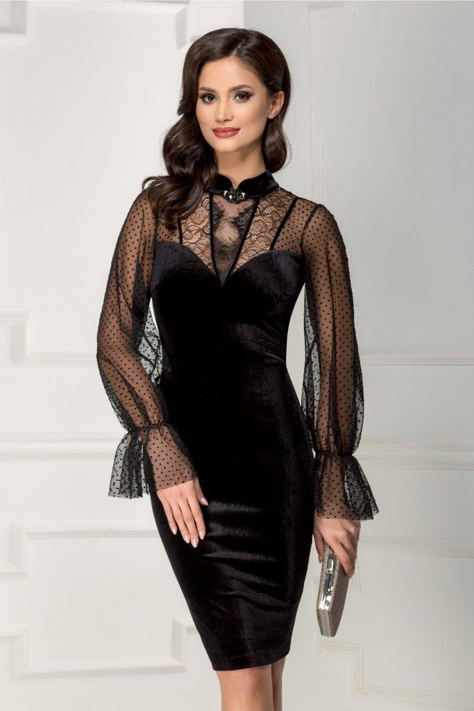 Rochie de seara din catifea neagra cu aplicatii de dantela fina Ginette