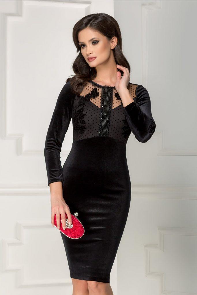 Rochie de seara din catifea neagra cu perlute la bust Ginette