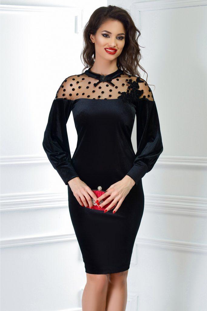 Rochie de seara din catifea cu broderie diafana de culoare neagra Ginette