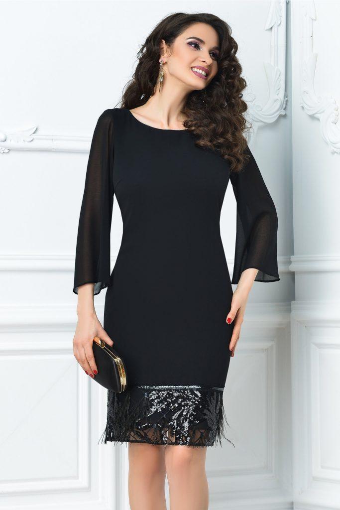 Rochie de seara Ginette neagra cu aplicatii de paiete si pene foarte versatile