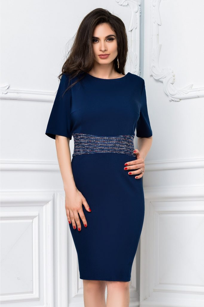 Rochie Greta office eleganta de culoare bleumarin cu talia evidentiata