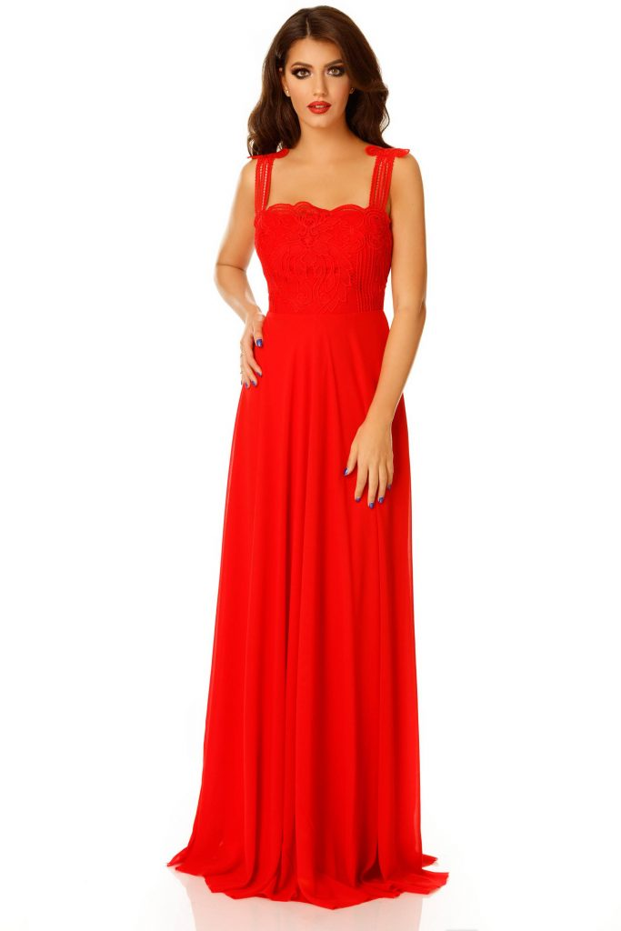Rochie rosie eleganta din voal lunga cu bust din broderie superba Irene