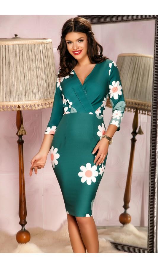 Rochie verde eleganta de ocazie cu imprimeuri florale Janice