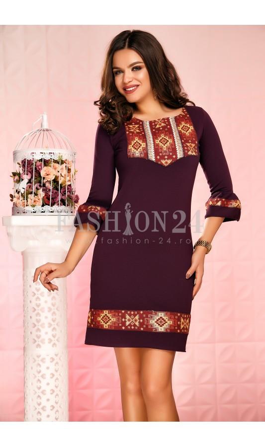 Rochie de zi scurta mov cu imprimeuri delicate Kalia Purple
