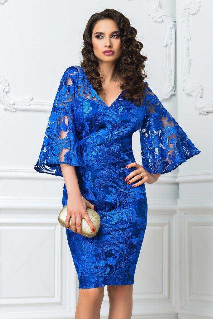 Rochie superba de seara albastra de lux Leonard Collection Kiara