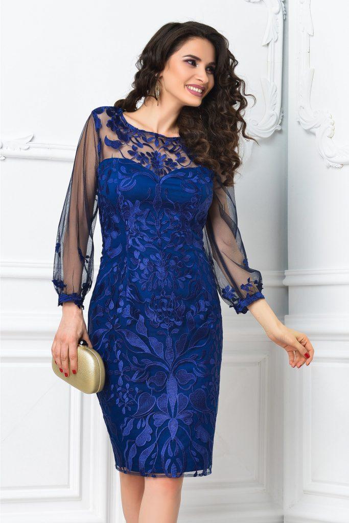Rochie de seara bleumarin din broderie de lux Leonard Collection Lisa