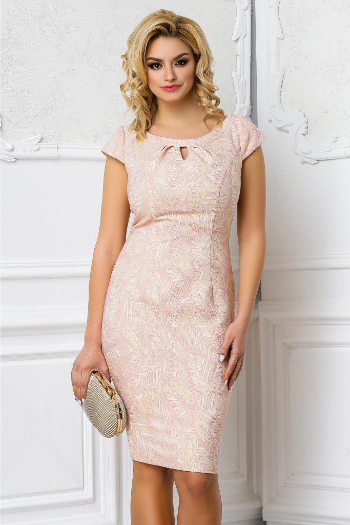 Rochie de seara roz pudra eleganta cu insertii aurii si decupaj la bust Leonard Collection Raisa