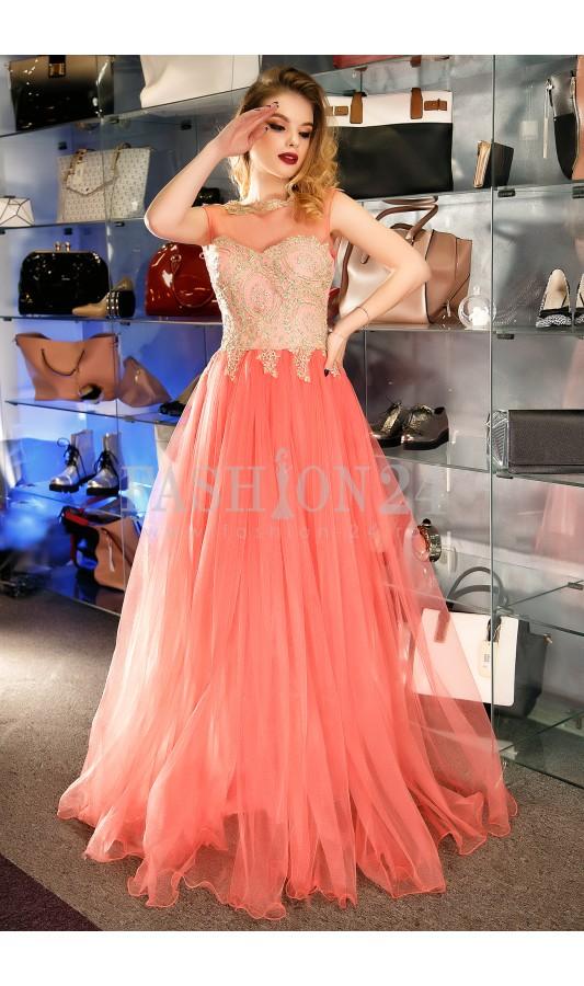 Rochie lunga piersica eleganta cu fusta din tull si broderie la bust Briana