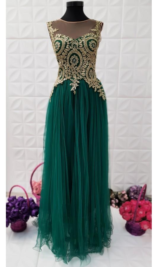 Rochie lunga verde eleganta cu fusta din tull Briana