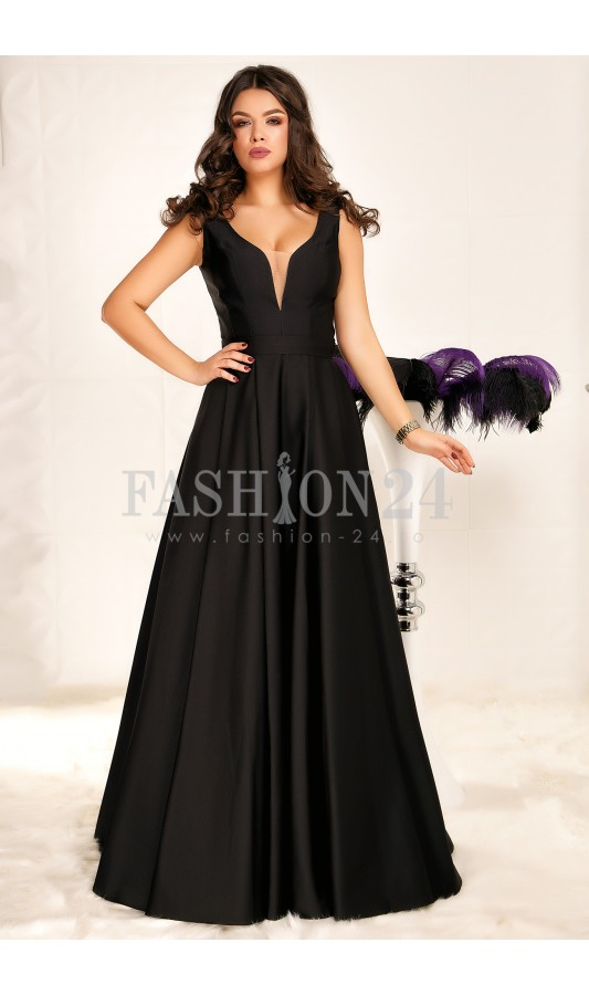Rochie de seara neagra lunga stil printesa Denise Black