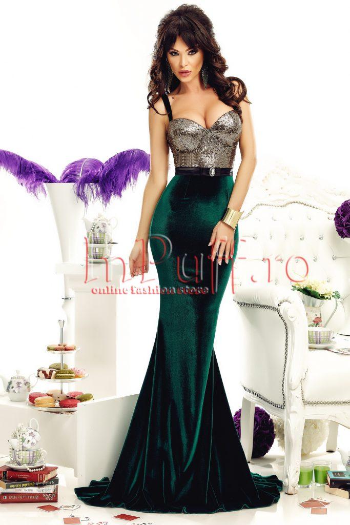 Rochie lunga stil sirena din catifea verde cu bust din paiete aurii si cordon detasabil in talie Atmosphere